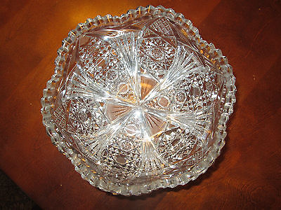 Antique Signed Roden Bros ABP Cut Glass Bowl American Brilliant Period