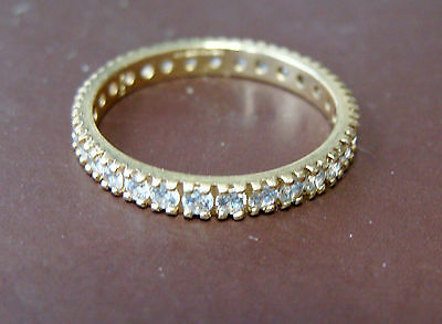 14K Gold Cubic Zirconia Eternity Ring Size 6.75 To 7