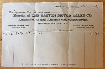Vtg 1928 Easton Motor Sales Co Automobiles Accessories Seeds/Paints/Oil Maryland