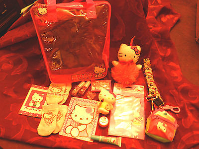 Hello Kitty Lot-Clear Tote Stickers Nails Lips Ring Key Chain Lanyard Doll +++