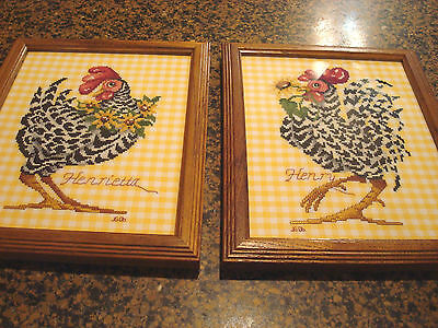 2 Handmade Framed Cross Stitch Picture Chicken Rooster Sunflowers 9.5X11.5 Glass