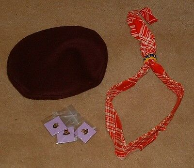 BOY SCOUTS OF CANADA Lot Official Beret, Scarf and 3 Tack Pins