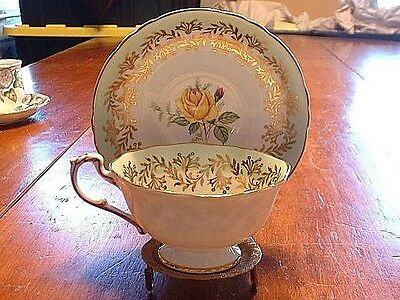 Gorgeous Vintage Paragon Porcelain Cup & Saucer With Yellow Rose Center