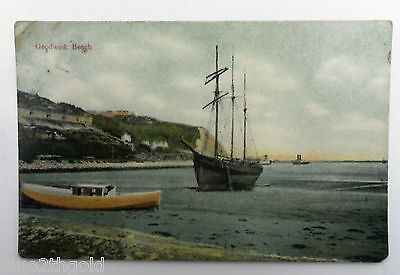 Old Vintage Postcard Goodwick Beach Pembrokeshire Wales Wooden Sailing Ship