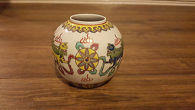 vintage chinese hand painted pot/vase