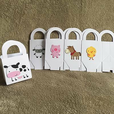 15 Farm Animal party favor boxes. Chick, Cow,Horse,Lamb,Pig. Birthday parties