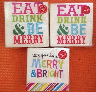 NIP Roobee mara-mi Cocktail Beverage Paper Napkins 120 ct EAT DRINK & BE MERRY