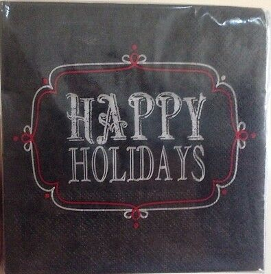 NIP Roobee mara-mi Cocktail Beverage Paper Napkins 40 Count Happy Holidays