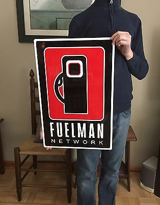Original FUELMAN GAS PUMP Double Sided Service Station Sign : Man Cave : Garage