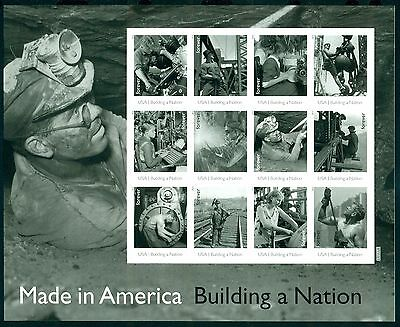 MADE IN AMERICA US 2013 Scott #4801a MAN IN MUD CHISELING 12 Forever Stamp Sheet