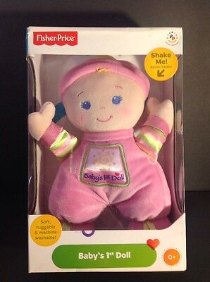 FISHER PRICE BABY'S 1st FIRST DOLL BRILLIANT BASICS PINK BRAND NEW SEALED BOX!