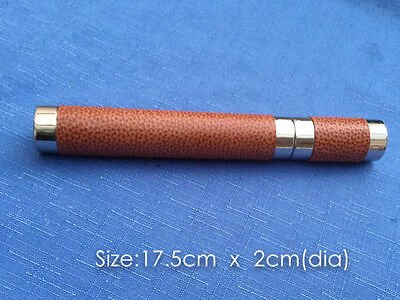 The Stainless Steel Cigar Tube Wrapped in  VT Leather