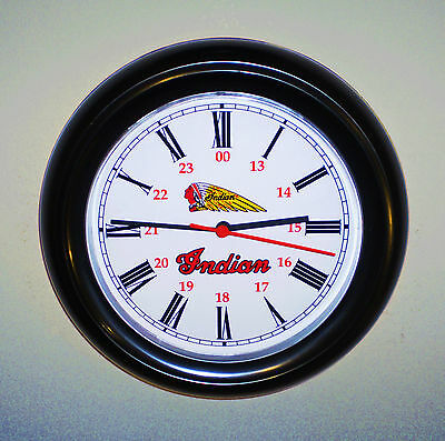 Indian Motorcycles, Vintage Style Wall Clock.  1930's Retro Americana Replica.