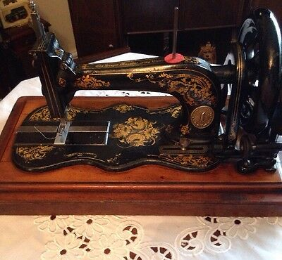 Antique Singer 12k Fiddle Base Sewing Machine With Case,Rose Decals c1875