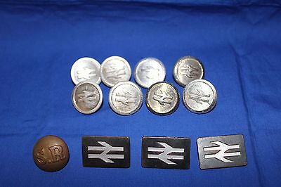 Railwayana - Eight Coat Buttons + Three Lapel Badges