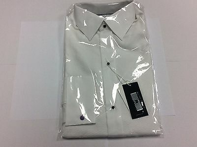 Eton White Patterned Standard Stud Slim Formal Dress Shirt Size 15 1/2 - 5A515