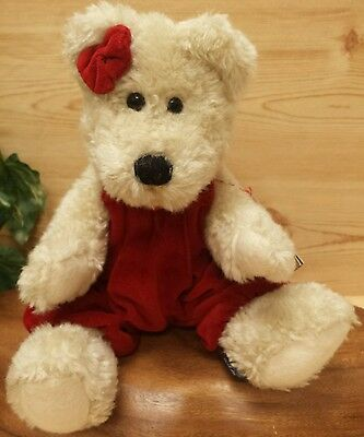 """Boyd's  Roxanne K. Bear 12"""" Red Velvety Material with tags ♡ Valentines"""