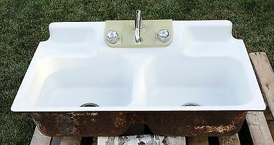 Vintage Double Bowl Cast Iron Porcelain Kitchen Farm Sink Crane 38""