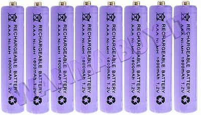 8 x 1.2v 1800 mAh AAA RECHARGEABLE BATTERIES FOR BT CORDLESS TELEPHONES + MORE