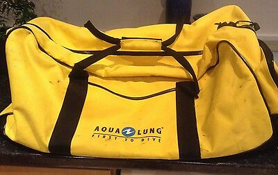 Aqualung Vintage Classic Yellow Diving Kit Bag, Black Trim, Large