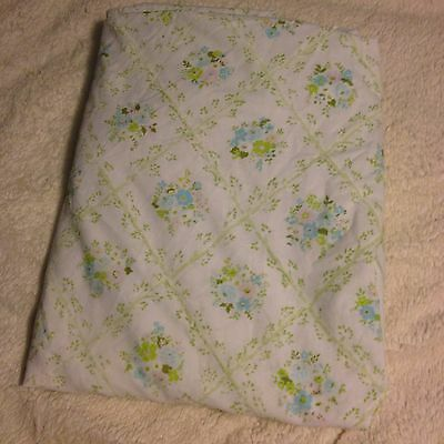 VTG Full Fitted Bed Sheet Cannon Monticello Blue Floral Bouquet Fabric Cutter