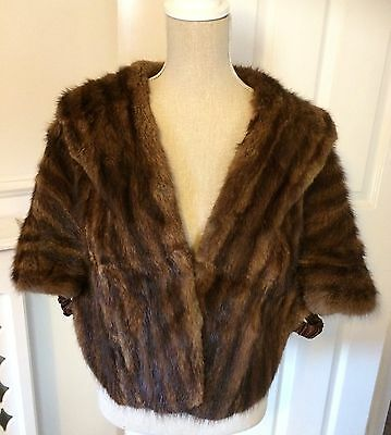 Vintage Mahogany Brown Real MINK Fur Wrap/shawl. Good clean condition.UK 12/14