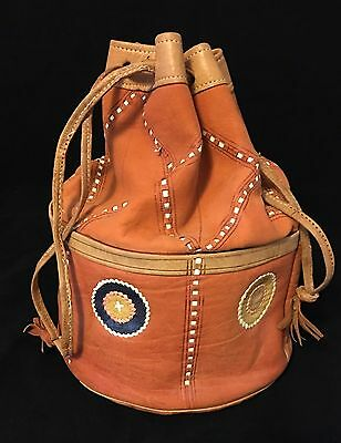 """Vintage Hand Made Ditty Bag Leather Bag Purse Sack Tote Travel Storage 12"""" X 8"""""""