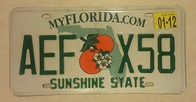 Florida Licence Plate Green Letters Numbers Sunshine State 2012 AEF
