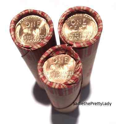 3 Shotgun Rolls Lincoln Wheat Pennies - Uncirculated Cents On Ends - 150 Coins