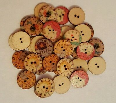 50 x 20mm round assorted 2 hole animal design wooden buttons sewing/crafts