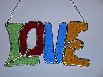 'LOVE' -  Stained Glass Sign. Present Valentine Mix coloured. House Decoration