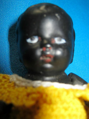 Solid antique bisque baby doll/ black-ethnic/marked  /open mouth -Germany
