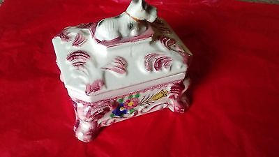 Antique Hand Painted Scotty Dog ( Occupied??) Japanese Porcelain Jewelery Box