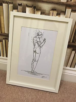NUDE MALE SIGNED ORIGINAL NOT PRINT Sketch Drawing Art gay shower *Unframed*
