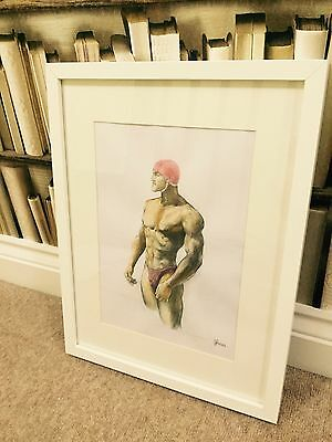 NUDE MALE SIGNED ORIGINAL NOT PRINT painting Art gay  Swimmer Diver Swimming