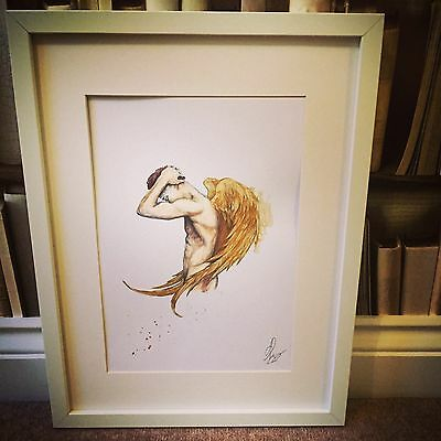 NUDE MALE ANGEL SIGNED ORIGINAL PRINT painting Art Figure Gold Wings Unframed