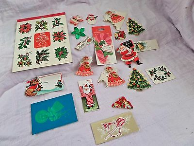 Vtg Lot Christmas stickers & Gift tags  Hallmark, etc   Candy Canes Santa Angels