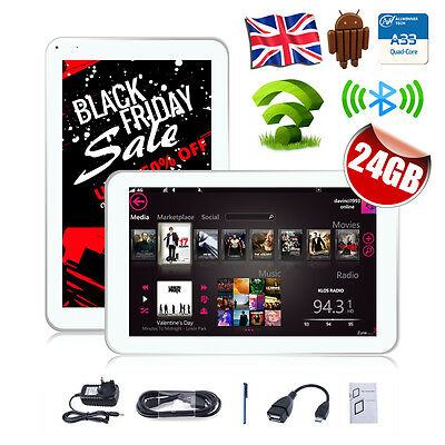 """UK 9""""Inch Quad Core Bluetooth WIFI Android 4.4 Capacitive Screen Tablet PC 24GB"""