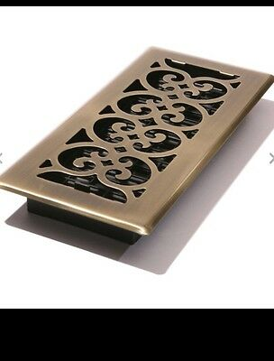 Decor Grates SPH410-A 4-Inch by 10-Inch Scroll Floor Register, Antique Brass