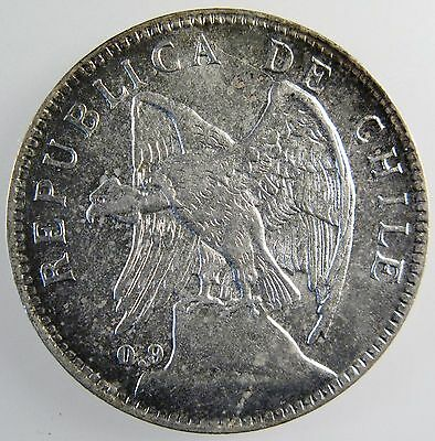 Chile. 1910 Silver 1 Peso. Brilliant Uncirculated. Km# 152.3