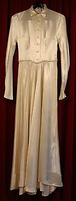 SMALL, 1950's CREAM ,SATIN, WEDDING DRESS. ORIGINAL VINTAGE.