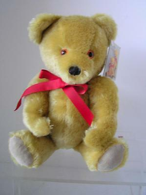 """Vintage Gold Mohair Fully Jointed Teddy Bear by Deans UK with all ID 12"""" tall"""