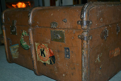 Antique Steamer trunk, Shipping Trunk Chest Case