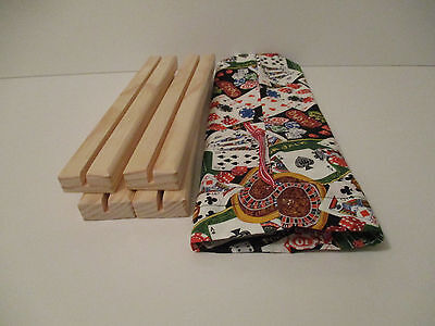 Wooden Playing Card Holders Single Row - Set Of 4 with Storage Bag