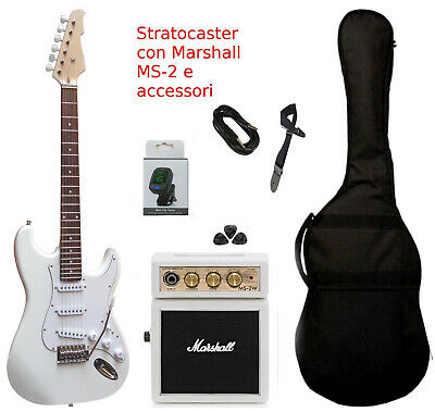 Chitarra Elettrica Stratocaster Bianca Kit Amplificatore Marshall Set  Completo