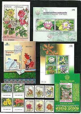 stamp,Flowers,Malasy,Thailand,,Indonesia,Spain,ASIA.mnh