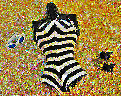 Vintage Repro First Barbie Zebra  Swimsuit Open Toe  Heels Cat Eyed Glasses!!!