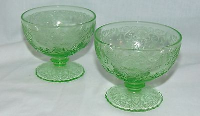 "2 Hazel Atlas FLORENTINE #1 GREEN *2 3/4"" FOOTED SHERBETS*"