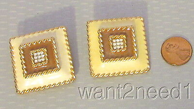 vtg signed GERARD YOSCA CLIP EARRING yellow enamel rhinestone big square buttons
