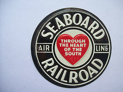 VINTAGE 1950s POST CEREAL METAL RAILROAD HERALD LOGO SIGN - SEABOARD RAILROAD